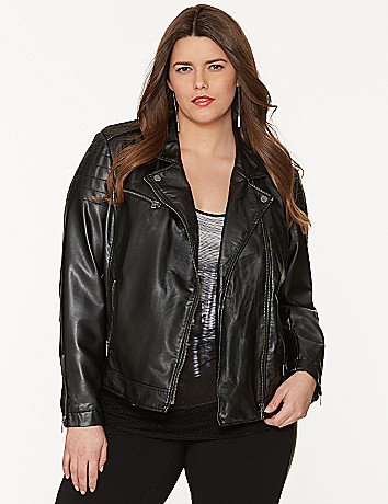 Quilted faux leather moto jacket by DKNY JEANS