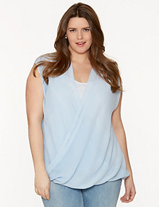 High low wrap top by DKNY JEANS