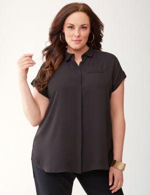 Lane Collection asymmetric zip top