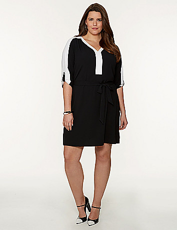 Plus Size Colorblock Shirt Dress by Lane Bryant