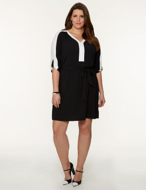 Colorblock Soft Shirt Dress