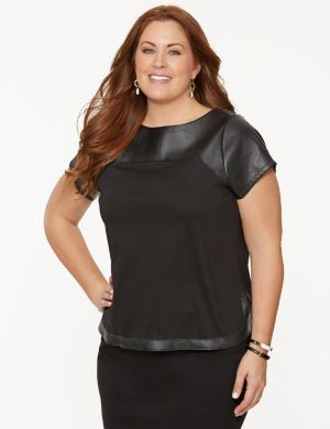 Ponte & faux leather tee