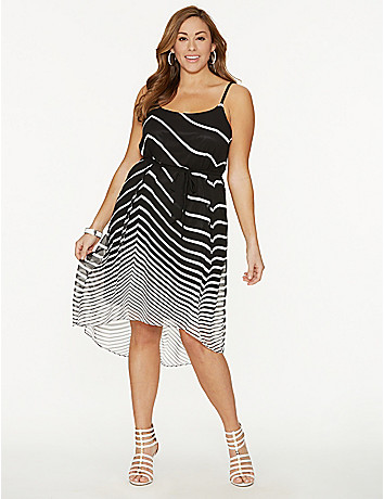 Striped high-low dress