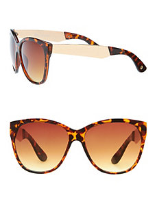 Cat-eye sunglasses with hardware arms