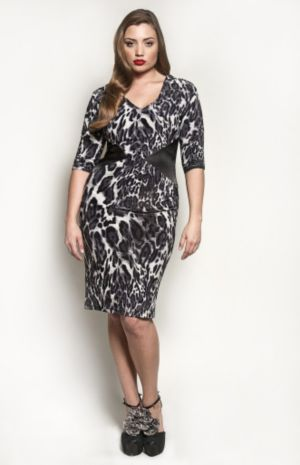 The Claire Dress in Grey Leopard