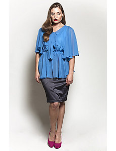 The Kara Blouse in Blue Lagoon by Queen Grace