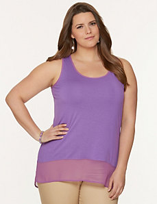 Chiffon hem swing tank by LANE BRYANT