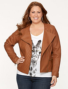Quilted front moto jacket by LANE BRYANT