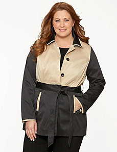 Colorblock trench coat by LANE BRYANT