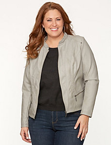 Ruffled collar moto jacket by LANE BRYANT