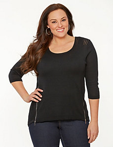 Double zip pullover sweater by LANE BRYANT