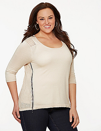 Open stitch zipper sweater