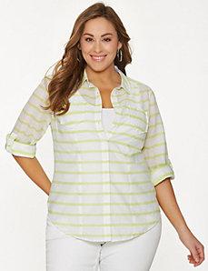 Striped double pocket shirt