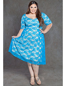 Kara Lace Dress in Blue by SWAK Designs
