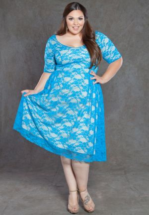 Kara Lace Dress in Blue