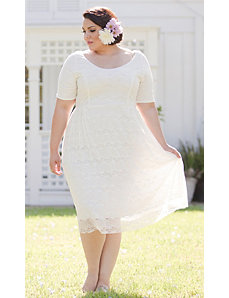 Kara Lace Dress in White by Sealed With a Kiss Designs