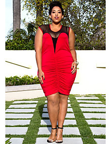 Roxanne Plunge Dress in Red by Sealed With a Kiss Designs