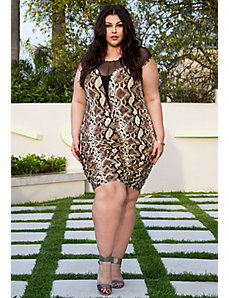 Roxanne Plunge Dress in Snake by Sealed With a Kiss Designs