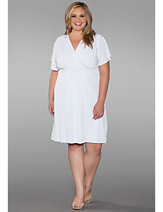 Classic Surplice Neck Plus Size Dress In White by SWAK Designs