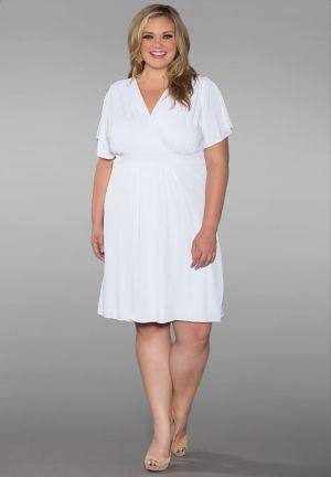 Classic Surplice Neck Plus Size Dress In White