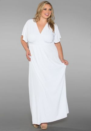 Classic Plus Size Maxi Dress in White