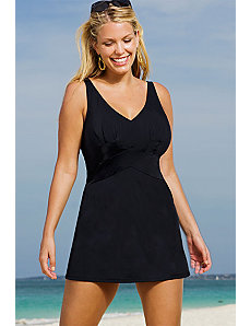 Black V-Neck Swimdress by Beach Belle