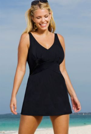 Black V-Neck Swimdress