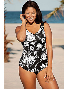 Beach Belle Splash Sarong Front Swimsuit by Beach Belle