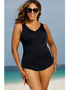 Black Sarong Front Swimsuit by Beach Belle
