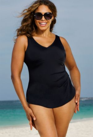 Black Sarong Front Swimsuit