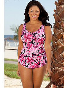 Pink Sarong Front Swimsuit by Beach Belle