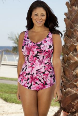 Pink Sarong Front Swimsuit