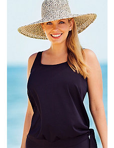 Black Blouson Tankini Top by Beach Belle