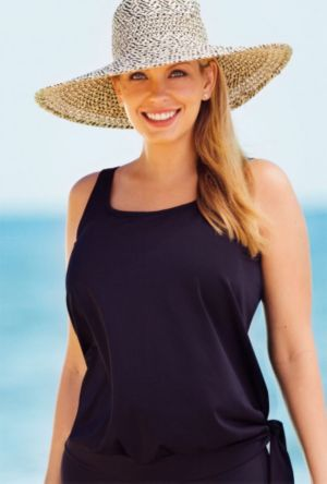 Black Blouson Tankini Top
