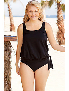 Black Blouson Tankini by Beach Belle