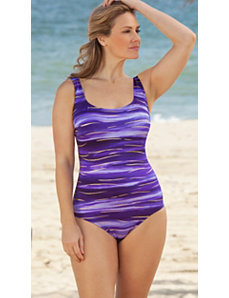 Longitude Purple South Seas X-Back Tank Swimsuit by Longitude