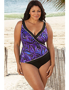 Longitude Purple Mystique Plus Size Surplice Swims by Longitude