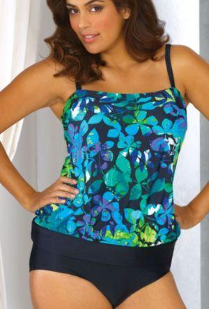 Watercolor Tropics Blouson Swimsuit