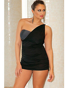 Mesh One Shoulder Swimdress by Infinity Blu