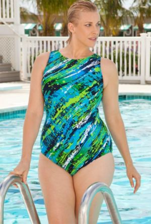 Diagonal Paint Swimsuit