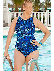 Blue Floral High Neck Swimsuit by Aquabelle