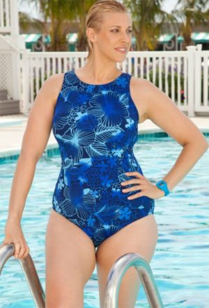 Blue Floral High Neck Swimsuit