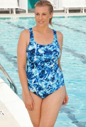 Aquabelle Abstract Water Cross Back Swimsuit