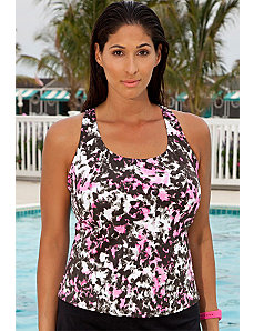 Raspberry Paint Splatter Tankini Top by Aquabelle
