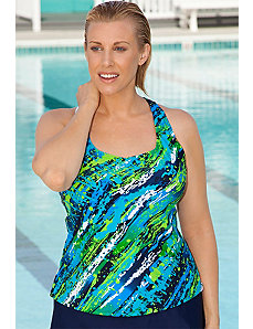 Diagonal Paint Tankini Top by Aquabelle
