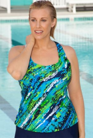 Diagonal Paint Tankini Top