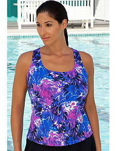 Abstract Floral Racer Back Tankini Top by Aquabelle