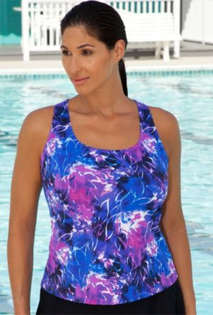 Abstract Floral Racer Back Tankini Top