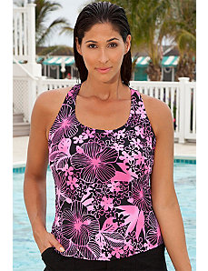 Pink Floral Racer Back Tankini Top by Aquabelle