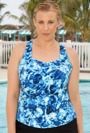 Aquabelle Abstract Water Racer Back Tankini Top